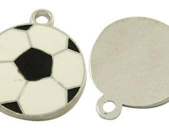 1 charm pendant 22 * 18 mm black and white enamel soccer ball