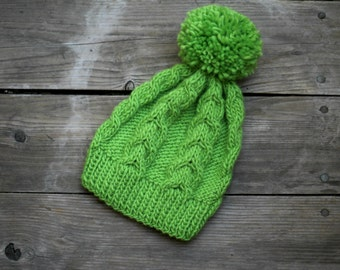 Knit hat, green hat, women hat, knitted hat, cable hat, lime green hat, hat with pom pom, winter hat, gift for her, gift for him,