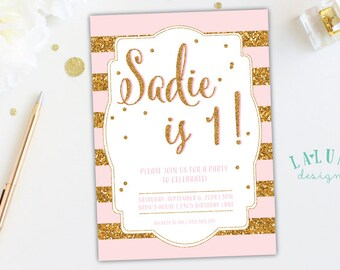 Pink and Gold Birthday Invitation, Pink and Gold First Birthday, Gold Glitter Birthday Invitation, Girl Birthday Invitation, First Birthday