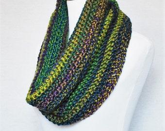 Green, Blue, Yellow Crochet Scarf, Purple Crochet Cowl, Striped Neck Warmer, Draped Infinity Scarf
