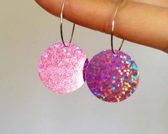 Round disco hoop earrings