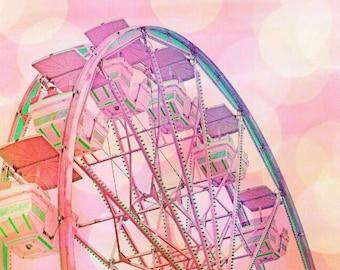 Ferris Wheel Print, Ferris Wheel Photo, Ferris Wheel Picture, Pink Nursery Print, Rainbow Print, Rainbow Picture, Ferris Wheel, Carnival