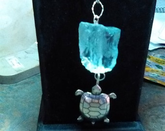 Beach glass on silver cable chain 20 in.  , with silver turtle pendent