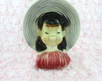 Vintage Royal Copley Asian Girl Head Vase Wall Pocket Planter Headvase