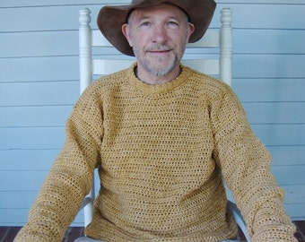 Men's Sweater, Men's Crochet Sweater, Men's Cotton Crewneck, Cotton Sweater, Pullover, Autumn Gold, Golden Yellow Sweater, Available in M/L