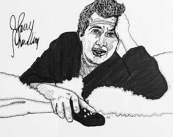 Garry Shandling 9x12 original ink line drawing