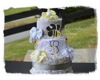 Deluxe Bee Diaper Cake, Gender Neutral Diaper Cake, Gender Reveal Gift, What Will it Bee Diaper Cake, Baby Shower Table Centerpiece, Unisex