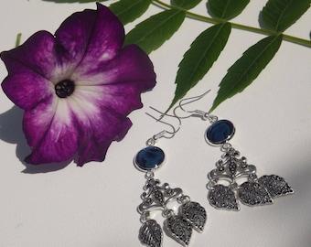 long dangle earrings abalone blue