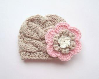 Newborn Baby Girl Hat , Knit Toddler Girl Hat , Baby Hat Photo Prop , Winter  Baby Toddler Hat