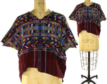 60s Guatemalan Huipil Embroidered Cotton Blouse / Vintage 1960s Ethnic Bohemian Blouse / Hand Embroidery / Hippie Boho Mexican Peasant Folk