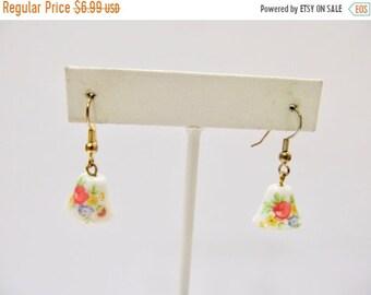 On Sale Vintage Floral Glass Bell Earrings Item K # 1669