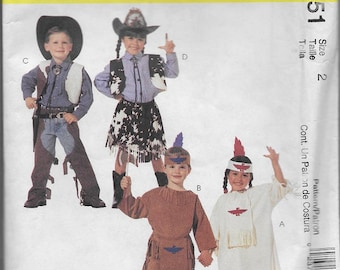 McCall's Pattern 2851Children's Costumes Cowboys & Indians (C) 1999*