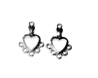 Connectors earrings (or other) gunmetal heart