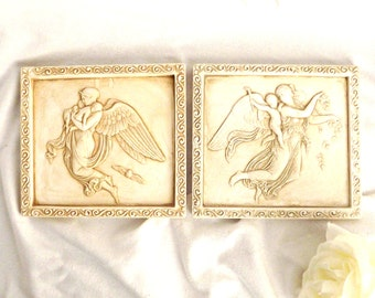 Guardian Angels Clay Wall Hanging, Home Decor, Wall Art, Cherubs, Vintage Decor, Angels, Vintage Decor
