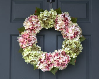 Pink and Green Blended Hydrangea Wreath | Summer Wreath | Front Door Wreaths | Outdoor Wreath | Door Wreath | Housewarming Gift