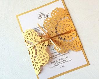 Gold Lace Wedding Invitation, Laser Cut Wedding Invitation, Custom Colors Available