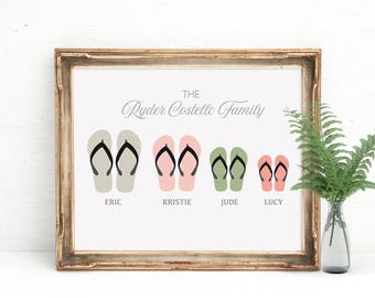 Beach House Art, Flip Flops Print, Personalized Family Art, Beach Print, Beach House Print, Personalized Gift