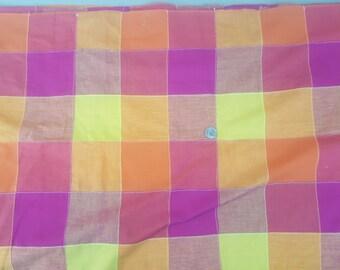 3 yards bright orange red yellow patchwork fabric