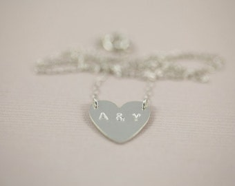 wedding gift, couple initial necklace, love necklace, heart necklace, monogram necklace - sterling silver necklace