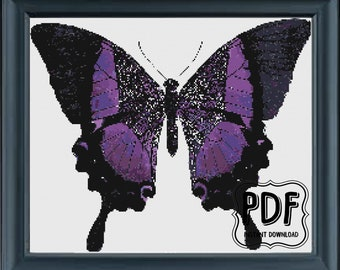 Purple Butterfly, Cross Stitch Pattern, Instant Download PDF