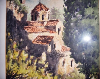 Watercolor Mission Church Vintage Painting Collectible Art 17 x 22