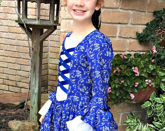 Girls Colonial Dress with double flounce at sleeve,Plus Mob Cap /(PLEASE check details in ad before ordering)