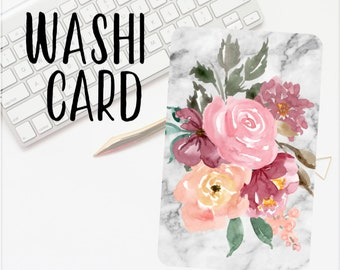 Marble Floral Plastic Washi Card Holders