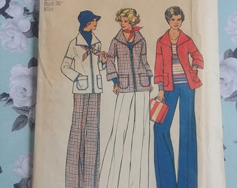 Retro 1976 Misses Unlined Jacket and Pants Simplicity 7347 Size 14 Simple to Sew Vintage Sewing Pattern - UNCUT