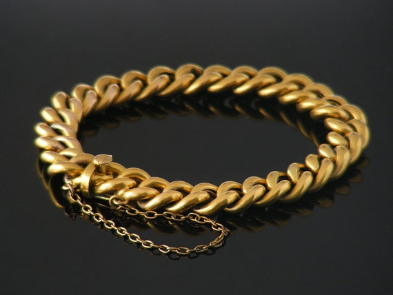 Antique Gold Chain Bracelet | Thick Rolled Gold Curb Chain | Lustrous Gold Bracelet with Safety Chain - 7 Inch Bracelet fits 6.5 Inch Wrist