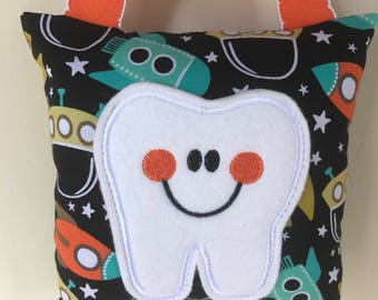 Tooth Fairy Pillow - Space Ship Pillow with Orange Ribbon - Kids Pillow - Kids Gift