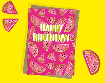 Watermelon Birthday Card - A6 - Happy Birthday - Foodie - Lino print - Pink - Melon - Summer - Bright -  Birthday Party - Celebration