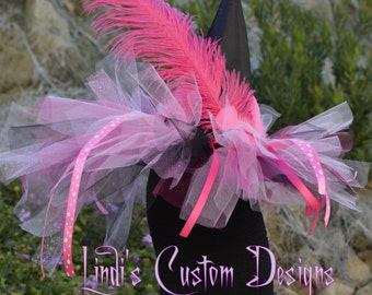 Child Witch Hat Hot Pink and Bubblegum Pink TulleTail Witch Hat for Toddlers and Girls up to 10 yr for Costume, Halloween, Pageants