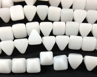 SALE 25 Milky White Stud Czech Two Hole Glass Beads 8mm