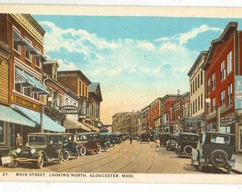 Linen Postcard, Gloucester, Massachusetts, Main Street Looking North, ca 1920