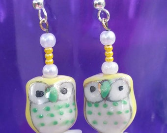 Handmade Yellow Owl Earrings