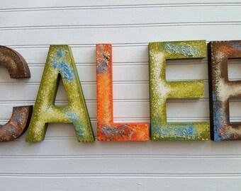 Nursery Letters - Rustic Vintage Look - Boy Name Letters - Aged Look - Vintage Room Decor - Baby Name Letters