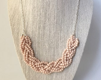 Blush Beaded Braid Necklace