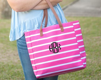 Hot Pink Stripe Monogrammed Tote Bag, Personalized Bag