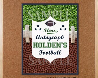 Football Signature or Autograph Sign - Made to Order - Personalized - DIY Printable