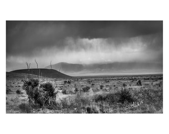 White Oaks Rainstorm Fine Art Photography New Mexico Landscape Black and White high desert  romance Ranch house chic  Rural dramatic Western