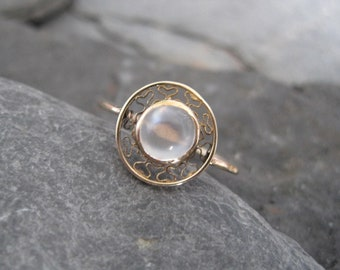 Art Nouveau Moonstone Solitaire Ring in 14k Yellow Gold - JL977
