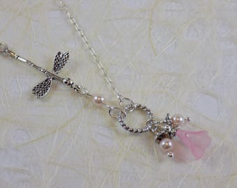 Silver Dargonfly with Pink Calla Lilly and Pearls