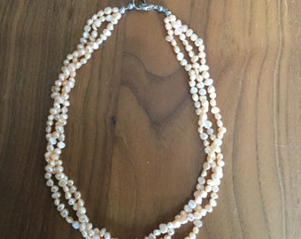 Beautiful Pink Pearl Multistrand Necklace with Lobster Clasp; peach multistrand; orange necklace, pearl necklace, faux pearls