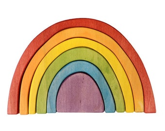 Wood Rainbow toy | Wood stacker/ Montessori toys/ Waldorf toys/ Handmade baby gift/Educational toys/ Wooden blocks/ Natural toddler toy