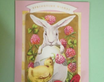 Easter Card/Handmade/3D/Easter Bunny Holding a Huge Easter Egg, Surrounded by Berries and Gazing down at A Charming Baby Chick.