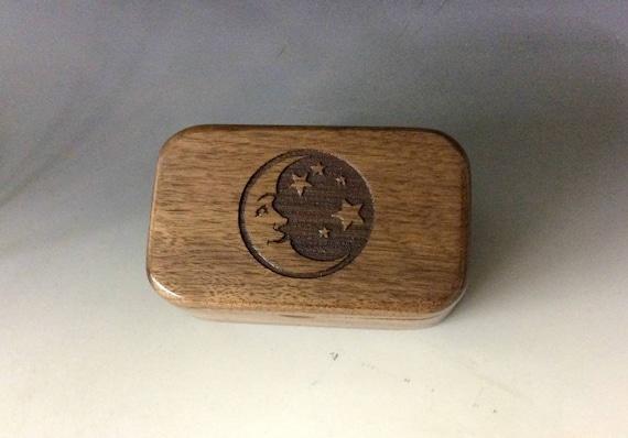 Moon & Stars Box - Engraved Wooden Box - Trinket Box -Jewelry Box- Gift Box - Business Card Box- Small Wood Box - Keepsake Box, Handmade Box