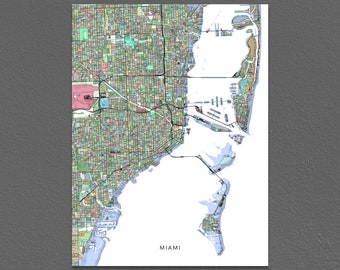 Miami Map Print, Miami City Map Art, Florida, Colorful
