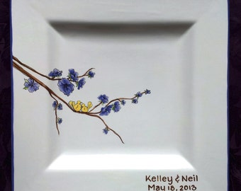 Wedding Guest Book Alternative Wedding Signature Plate Guest Book Platter ceramic guest book Love Birds