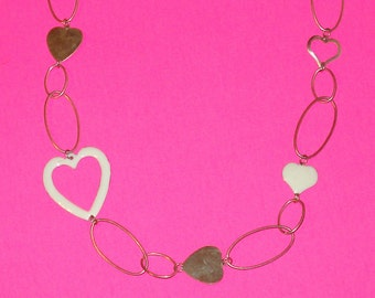 Vintage 1960s Chain of Hearts Necklace