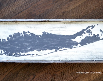 Long Island Map Distressed Sign  |  Hand-Made  |  Custom  |  Made-to-Order